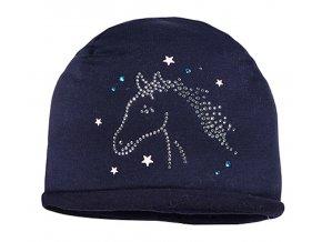 Dívčí čepice s koníčkem tmavě modrá kamínky třpytky kůň s koněm Maximo zímní čepice holka tmavě modrá 35039466760048