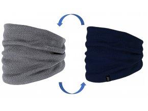 Dětský oboustranný pletený nákrčník modrý tunel tmavě modrý navy šedý melír Maximo kluk 93671 357400 c
