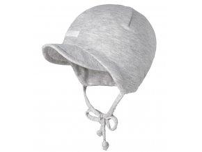 Kojenecká čepice s kšiltem bavlna světlý melír Maximo unisex mimi 95500-332489_0082