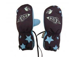 Dětské zimní rukavice modré Vesmír s raketou Maximo thinsulate8303-937700/4865