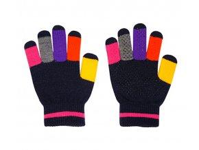 Dětské pletené rukavice s barevnými prsty růžové Maximo 9173-861300/4825