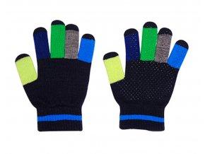 Dětské pletené rukavice s barevnými prsty modré kluk Maximo 9173-861300/4865