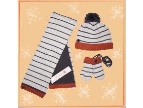 <p>Světle šedá dětská zimní čepice s bambulí s tmavě šedým tenkým proužkem a s kontrastním cihlově oranžovým, žebrovým lemem. Fleecová podšívka.</p><p>V sadě se šálou a rukavicemi</p>