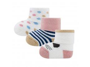 Novorozenecké ponožky s kočičkou froté kojenecké ponožky teplé 3ks Ewers 205241-1 a