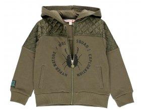 Chlapecká khaki mikina na zip s kapucí zelená pro kluka Brouk Boboli 5111314523 a