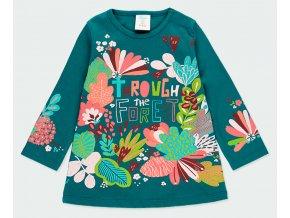 Dívčí bavlněné šaty s barevnými květy tmavě zelené růžové holka Boboli květinyové 2330864552 a