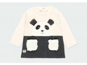 Kojenecké šatičky s medvídkem Panda šaty pro holčičku teplé bavlněné veselé černé bílé šatičky Boboli 1130058124 a