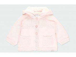 Kojenecký svetr s kožíškem a odepínací kapucí růžový svetřík pletený kabátek pro holčičku Boboli holka mimi 1030483000 a