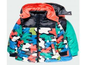 Chlapecká oboustranná zimní bunda barevná Maskáč oranžová zelená modrá černá pistác Boboli kluk 3131319677 a