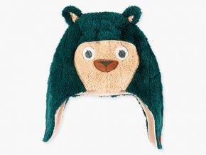 Dětská zimní čepice přes uši zvířátko Medvěd zelená roztomilá ušanka fleece Boboli kluk