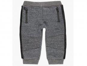 <p>Chlapecké tepláky s fleecovou podšívkou. Estetické zpevňující prošití v kolenou, kapsy na zip, falešný poklopec, a s kontrastním pruhem z lesklé látky po stranách.</p>