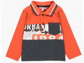 Oranžové tričko pro kluka Dětské polo s dlouhým rukávem, náprsní kapsička vystouplý potisk SKATE Boboli 3280145080 a