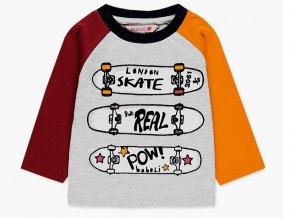 Klučičí tričko dlouhý rukáv Skate baseball plyš hladící komiks šedé barevné Boboli kluk