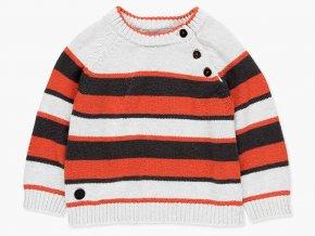 Pruhovaný svetr pro kluka oranžový šedý bílý atypické zapínání knoflík frajer Boboli