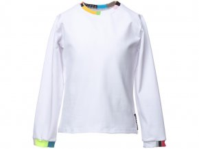 Dětské bílé tričko s dlouhým rukávem barevný patchwork Barcelona art a