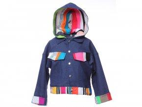 <p>dětská bunda, modrá džínska s odepínací kapucí, prostě klasika s malým upgradem. </p><p>Artový design, každý kus je originál barevné kompozice v lemovaní.</p>