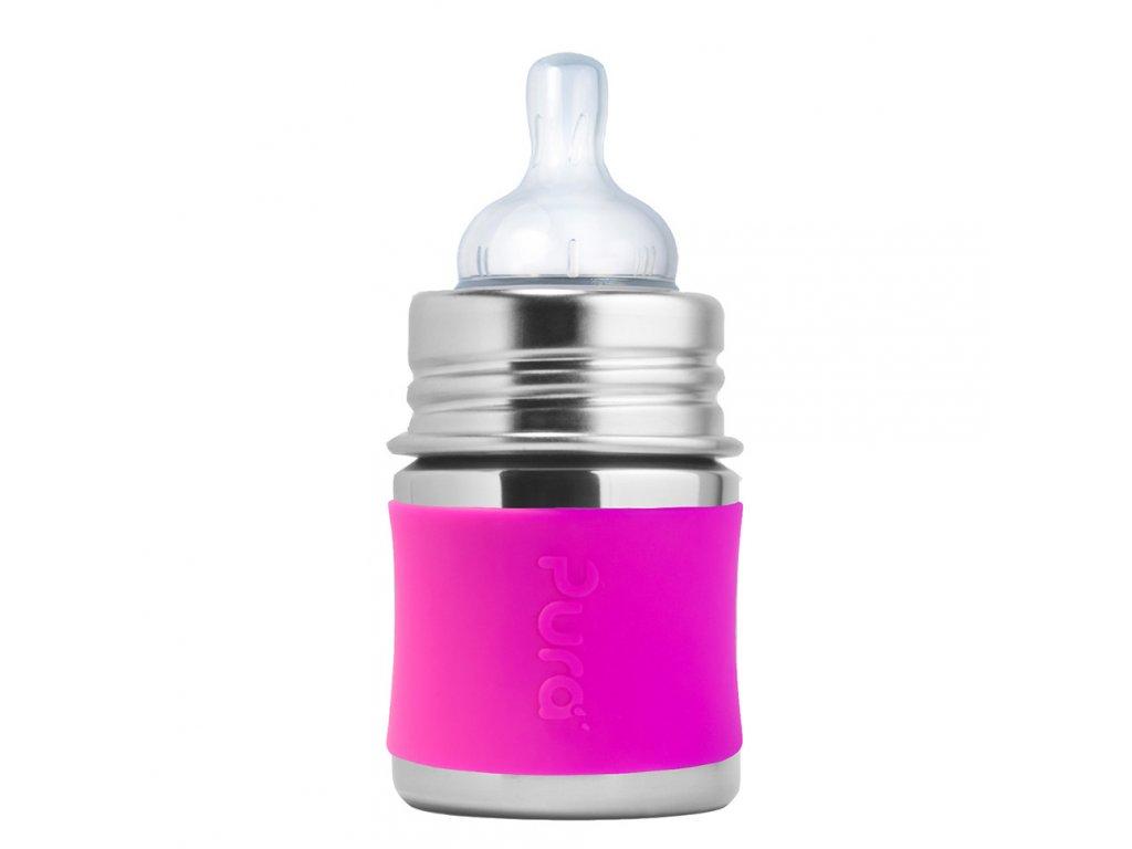 1 Pura nerezova dojcenska flasa 150ml Ruzova