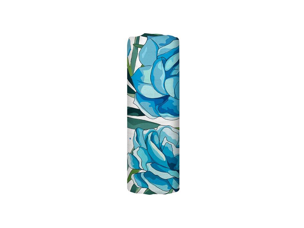 Mušelínová plena z biobavlny - Azure Blossom (120x120 cm)