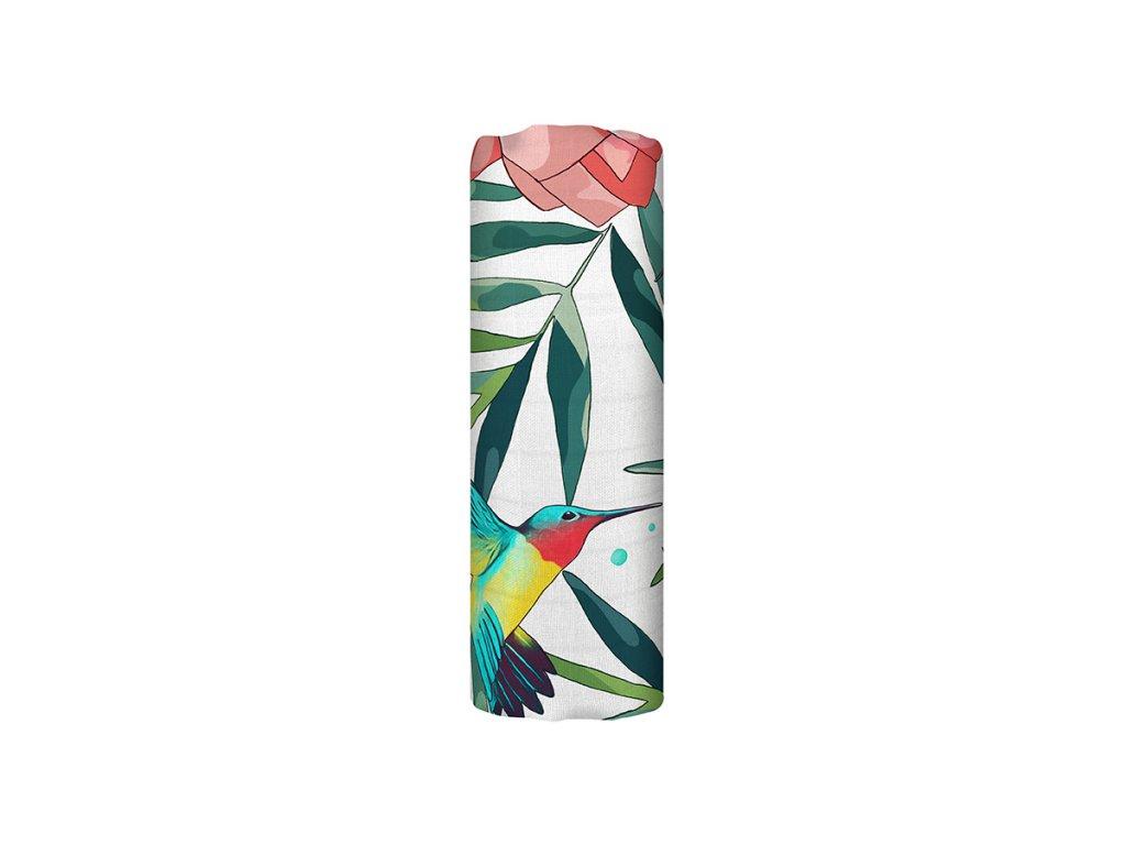 Bambusová mušelínová plena - Flowery Grace (120x120 cm)