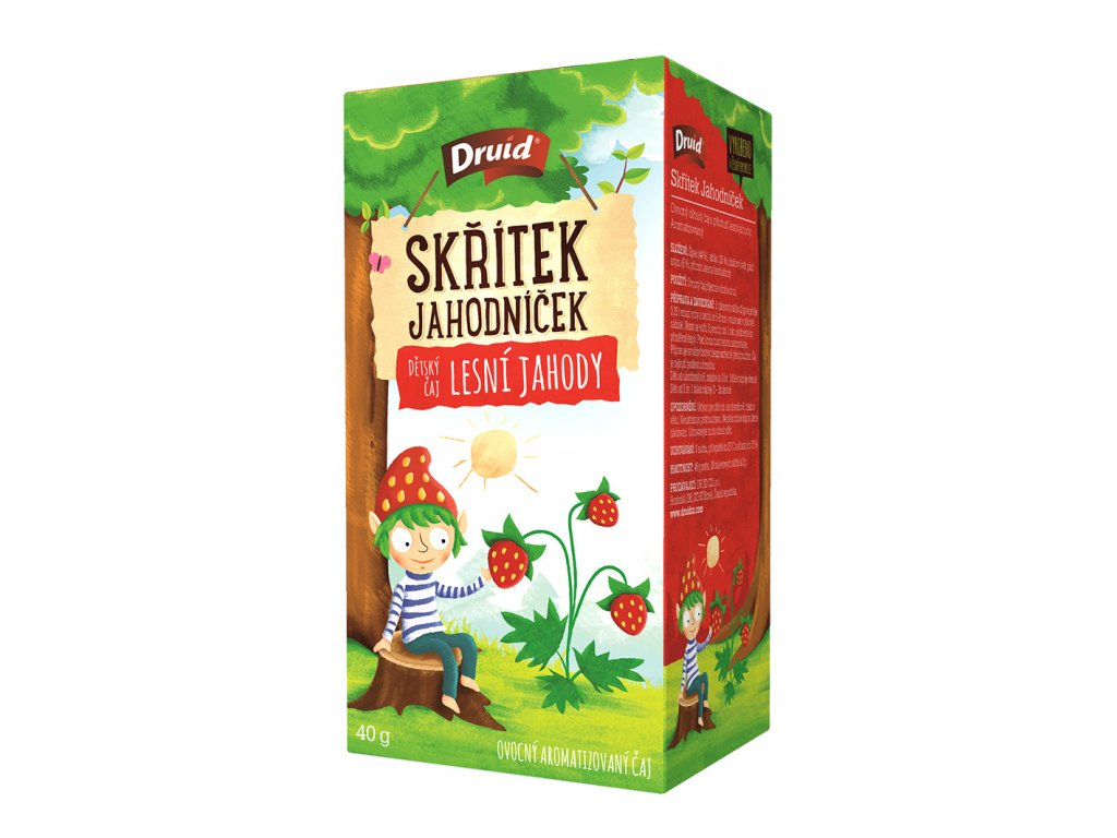 Skřítek Jahodníček Dětský ovocný aromatizovaný čaj lesní jahody DRUID 40 g