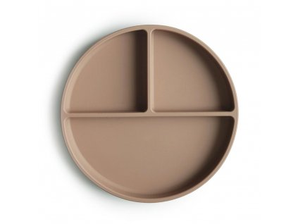 Mushie silikonovy tanier s prisavkou natural