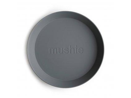 Mushie okruhly tanier 2 ks smoke