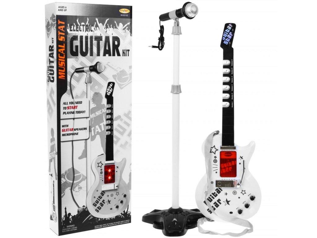 Gitara Elektryczna Stojak Mikrofon Biala [38332] 1200