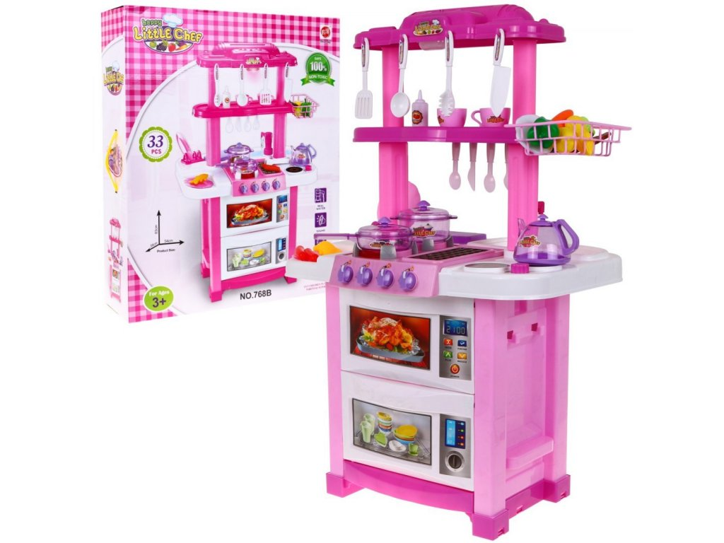 mamido Dětská kuchyňka oboustranná růžová 1