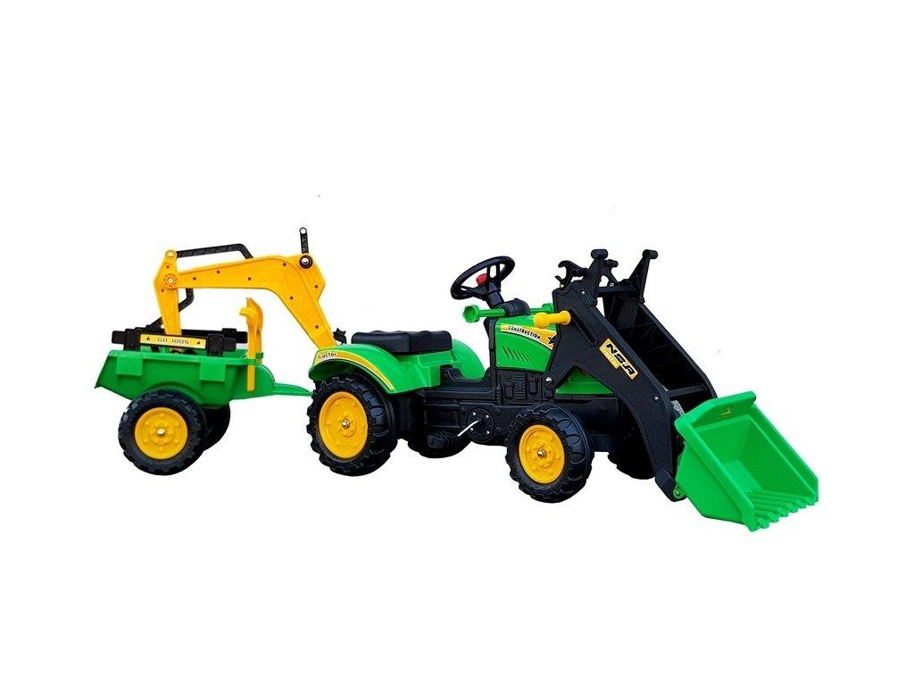 pol pl Traktor z Przyczepa i Lyzka Koparka Benson Zielony 5233 1