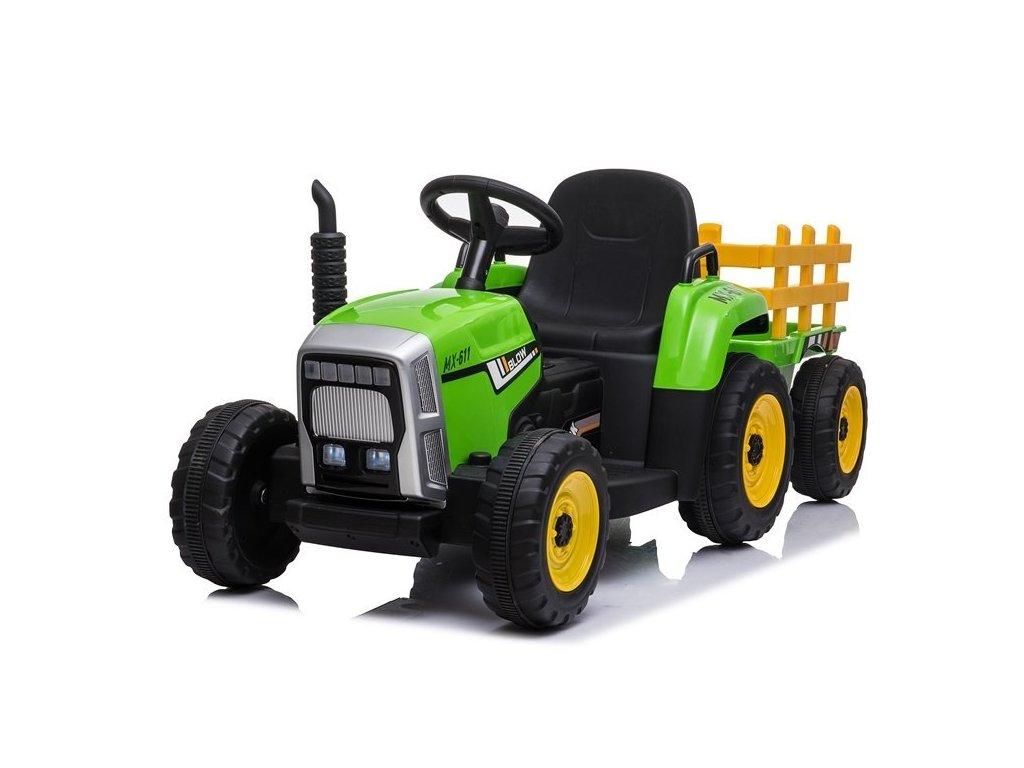 Elektrický traktor s vlečkou zelený1