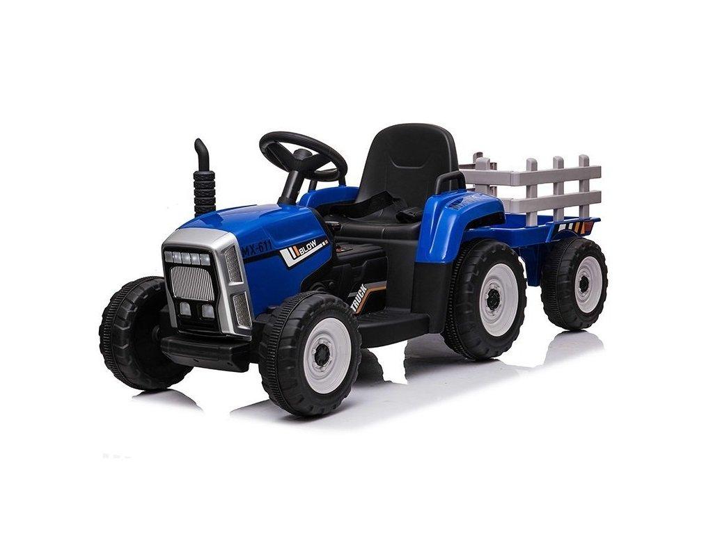 traktor s vlečkou modrý