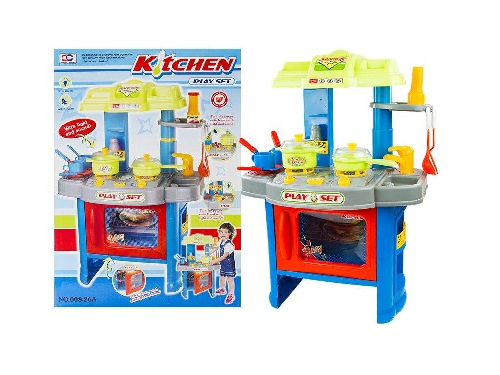 Dětská kuchyňka s troubou a doplňky modrá