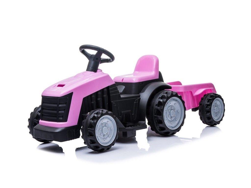 Dětský elektrický traktor s vlečkou růžový