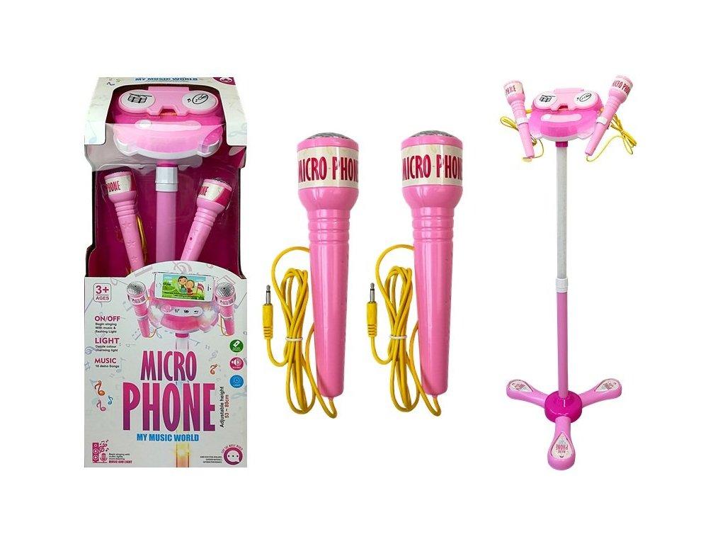 dětský mikrofon karaoke růžový (2)