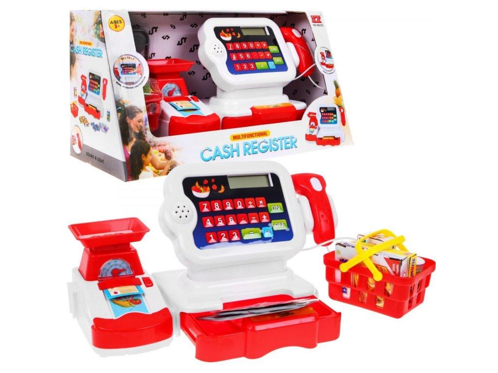 mamido Pokladna s nákupním košíkem a příslušenstvím červená