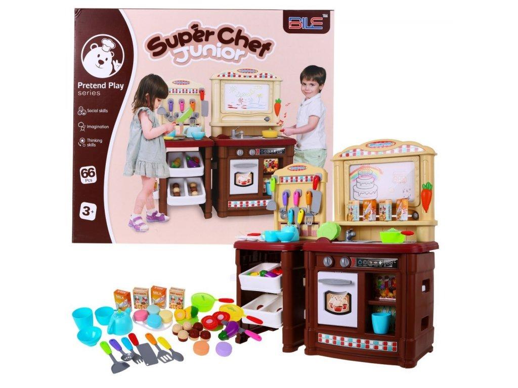 Velká dětská kuchyňka s mazací tabulí a další doplňky