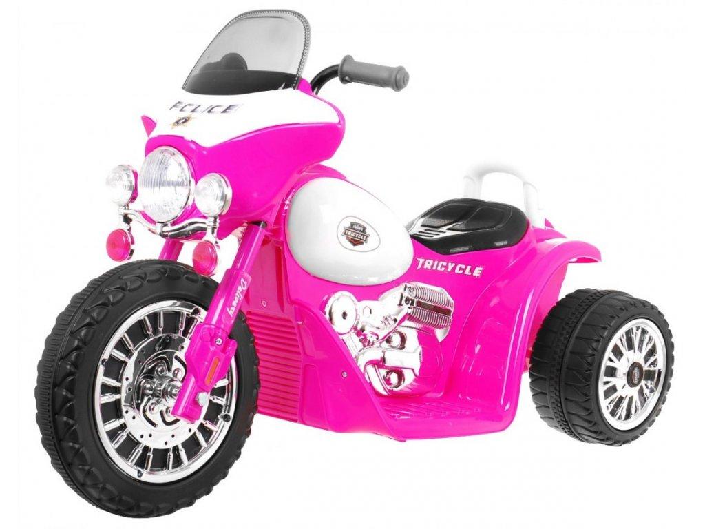 Dětská elektrická motorka růžová