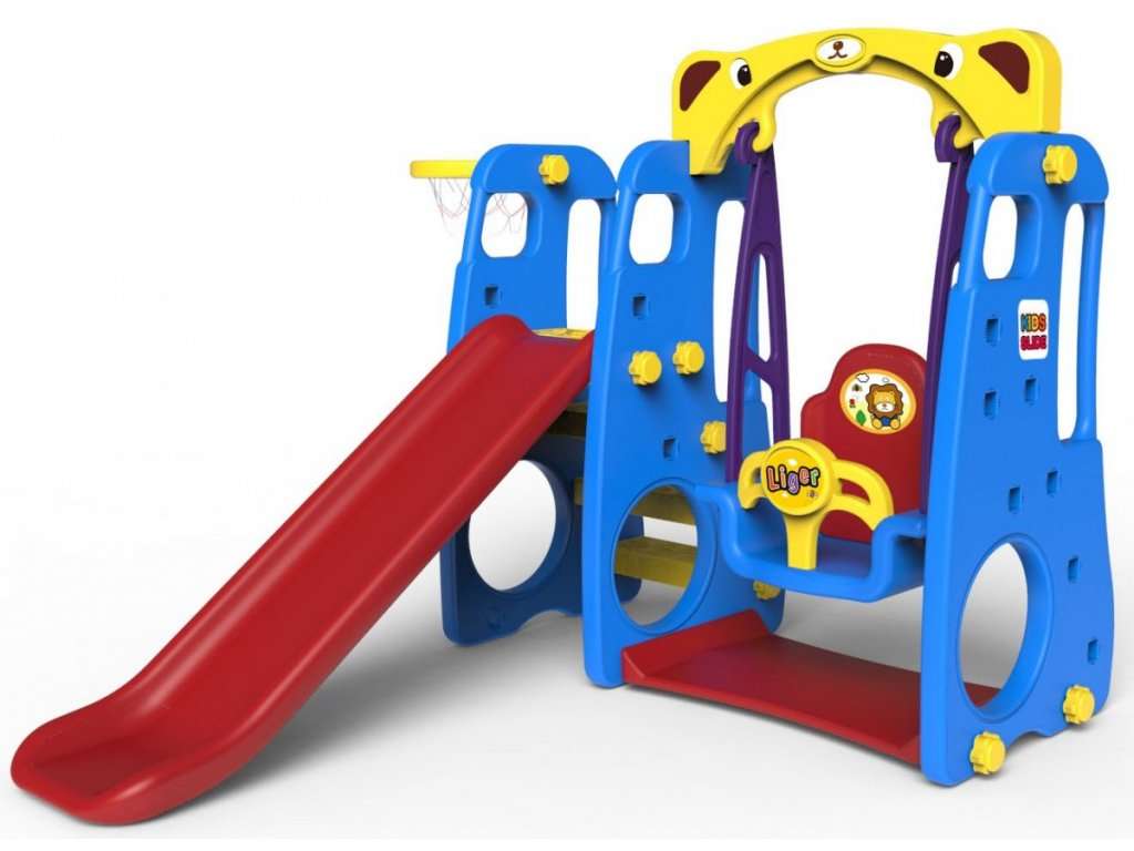 Dětská houpačka+skluzavka+basketbalový koš 3v1 modrá