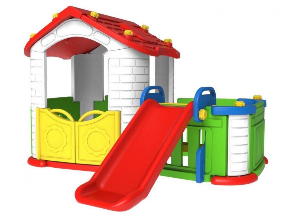 Dětský zahradní domeček se skluzavkou červený