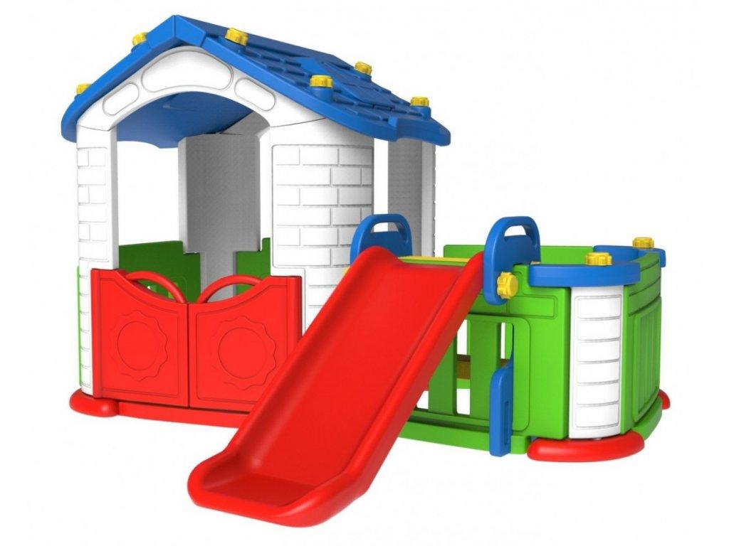 Dětský zahradní domeček se skluzavkou modrý