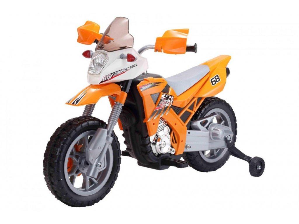 Dětská elektrická motorka Cross oranžová