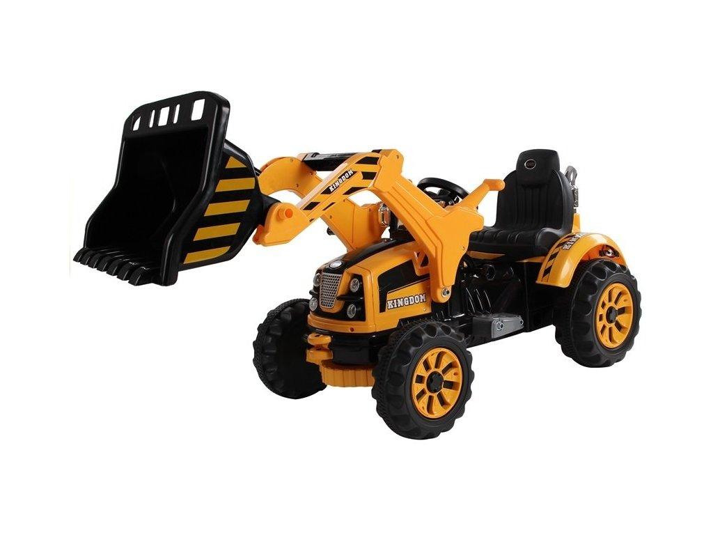 Dětský elektrický traktor s nakládací lžíci 12V žlutý