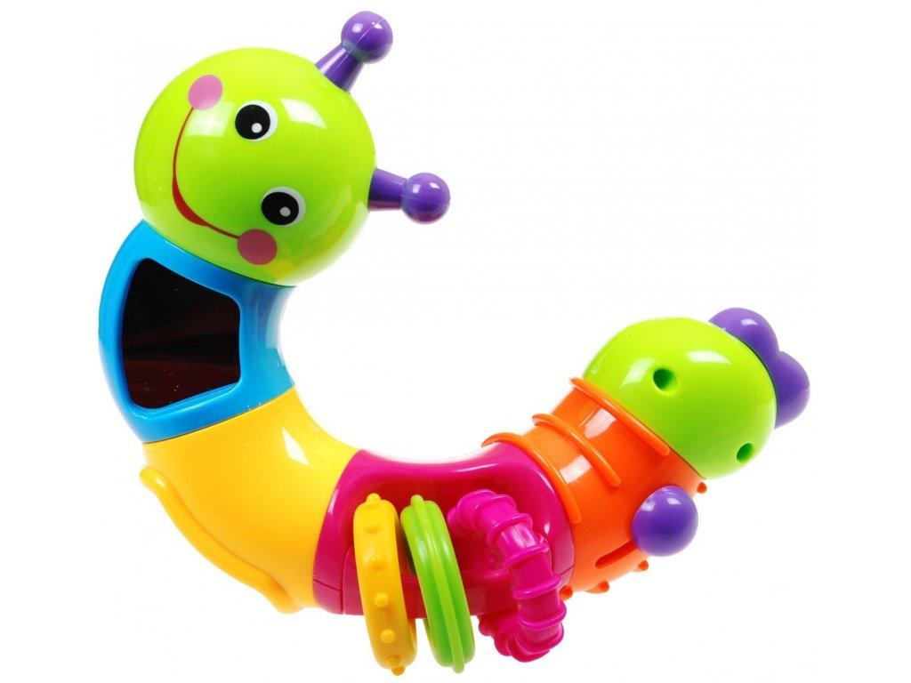 Multifunkční barevná housenka chrastítko pro dítě