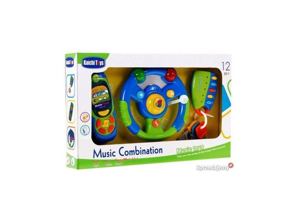 3 dílna hrací sada pro nejmenší - volant, mobil, klíče modrá