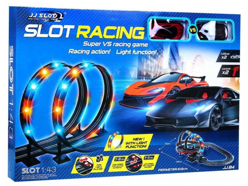 Podsvícená závodní autodráha + 2 autíčka