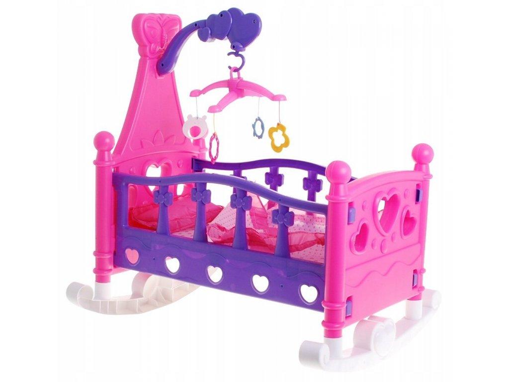Postýlka pro panenky s kolotočem + dětská polštářek1