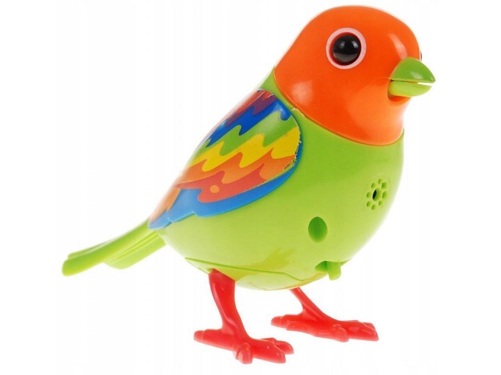 Digi Bird zpívající ptáček oranžovo zelený1
