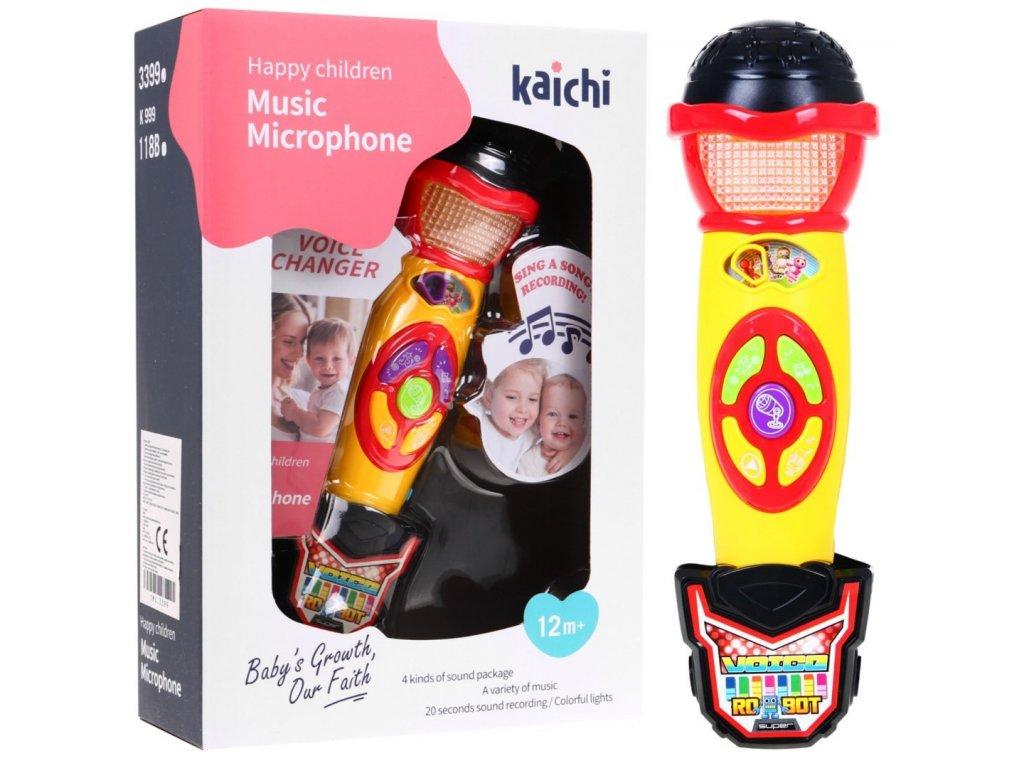 Dětský multifunkční mikrofon s karaoke žlutý