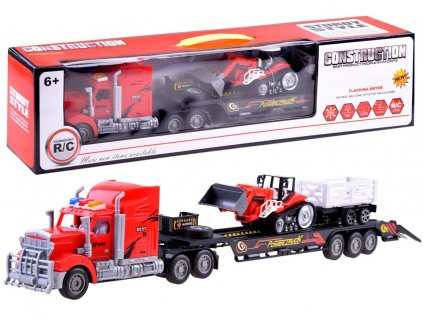 Kamion + traktor s vlečkou na dálkové ovládání červený