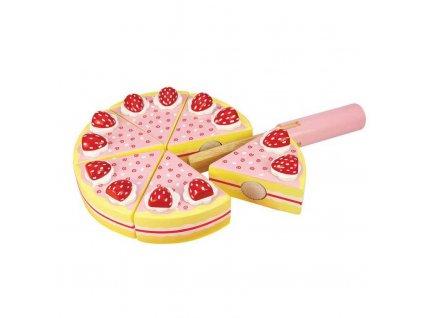 157334 bigjigs toys dreveny krajeci dort s jahodama